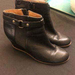 Susina black leather wedge booties